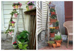 Muebles y escaleras viejas para decorar nuestro espacio de jardín.